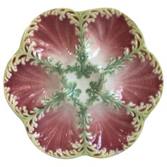 Majolica Seaweeds Oyster Plate Keller and Guerin Saint Clement, circa 1890