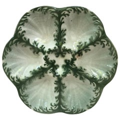Majolica Seaweeds Oyster Plate Keller et Guerin Saint Clement