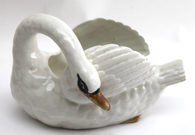 Early 20th Century Majolica Set of White Swans Jardinière Stamped Imperiale Nimy Belgium circa 1900 For Sale