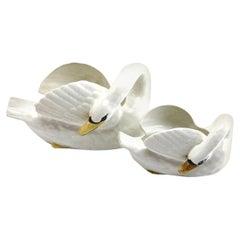 Majolica Set of White Swans Jardinière Stamped Imperiale Nimy, Belgium