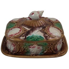 Majolica Shell Sardine Dish And Cover