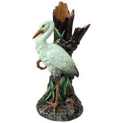 Majolica Stork Vase Delphin Massier, circa 1890