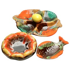 Majolica Style Set of Fish and Oyster Plates, by Vallauris with Drip Glazes
