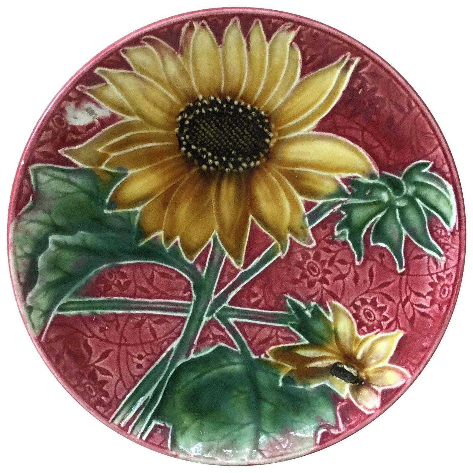 Majolica Sunflower Plate Villeroy & Boch, circa 1900
