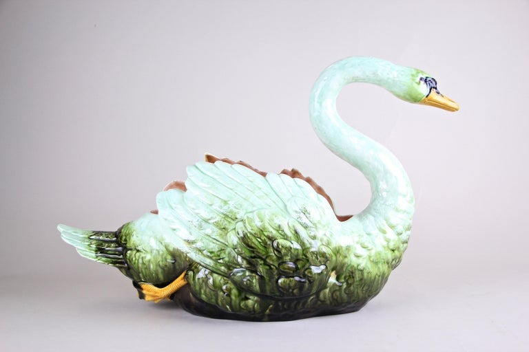 Extremely rare large Majolica Swan planter out of the famous manufactory of Julius Dressler in Bohemia, circa 1900. This absolute unique masterpiece of Majolica art is possibly one of the last pieces ever. Due the fact that we are specialists in