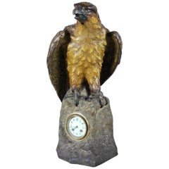"Majolica Table Clock ""The Eagle"" by A. Otto/ Johann Maresch, circa 1900"
