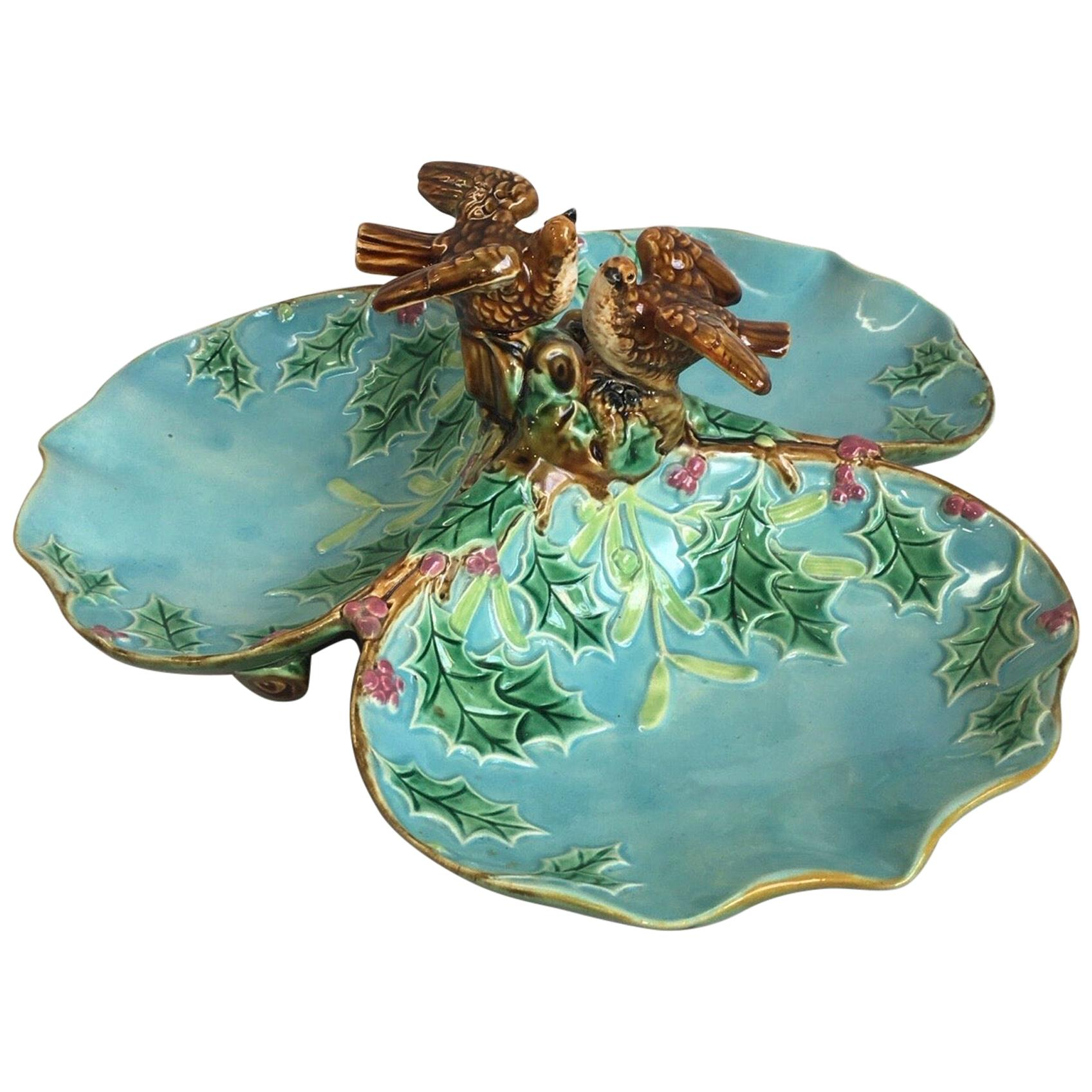 Majolica Three Part Server with Holly and Birds George Jones
