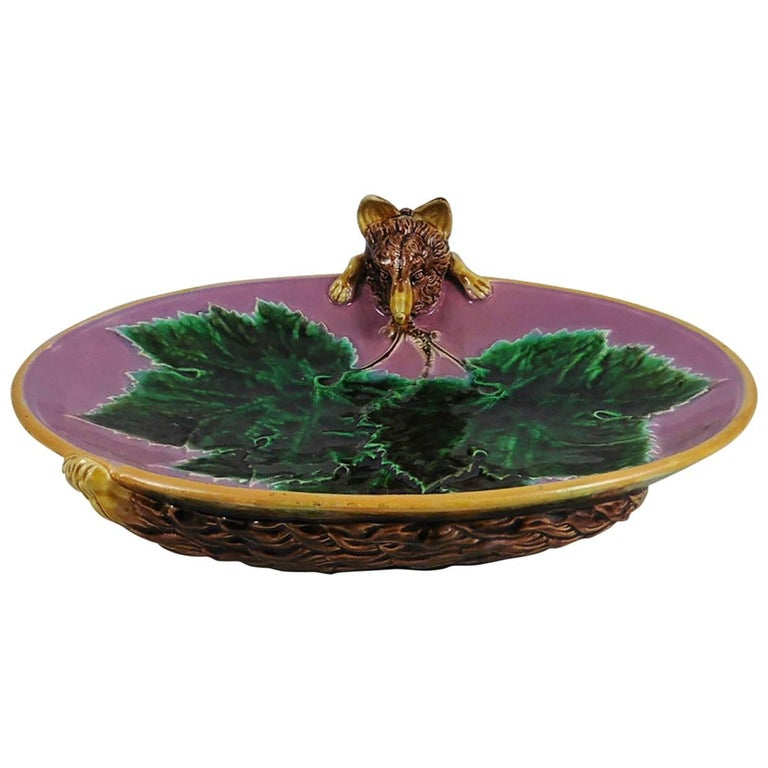 Majolica Three Part Server with Holly and Birds George Jones For Sale 4