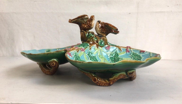 Rare 19th century turquoise aqua three part server with holly and birds signed George Jones.