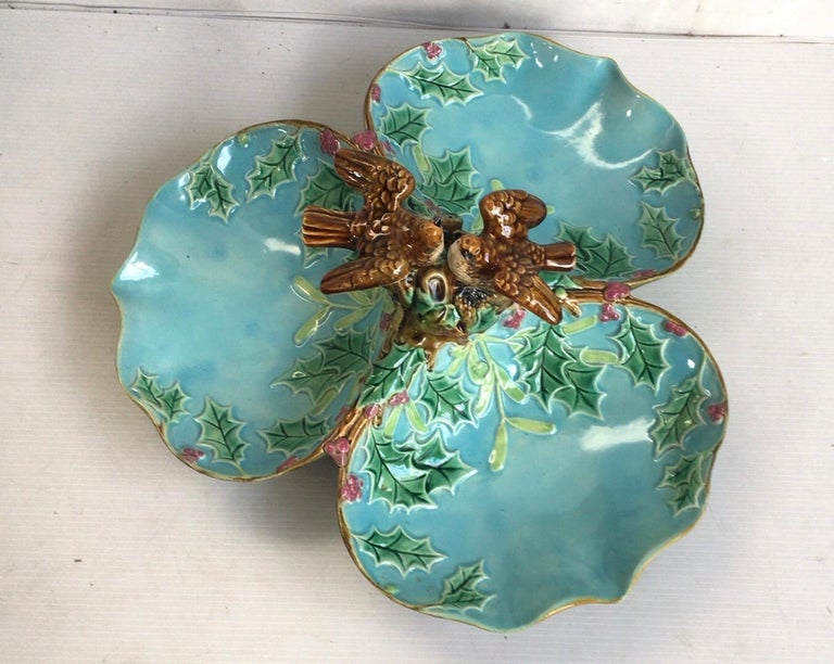 Victorian Majolica Three Part Server with Holly and Birds George Jones For Sale