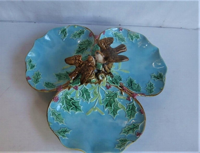 English Majolica Three Part Server with Holly and Birds George Jones For Sale