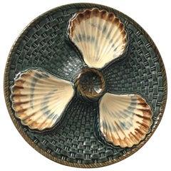 Majolica Three Shells Oyster Wall Plate Longchamp, circa 1890