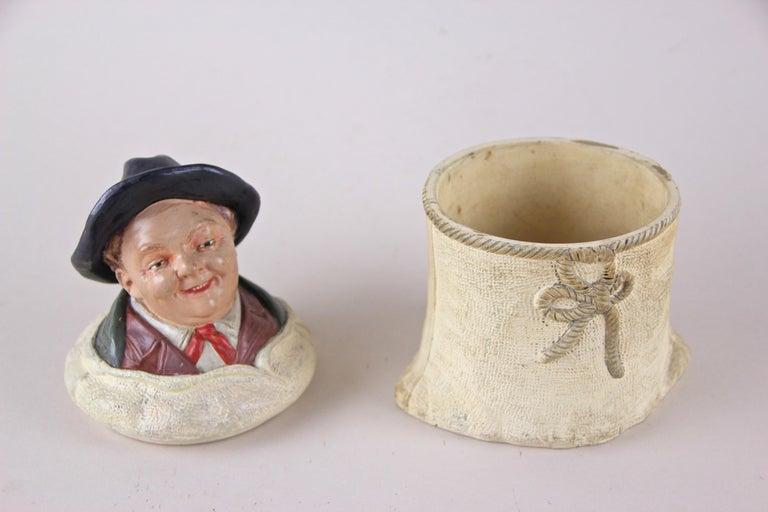 20th Century Majolica Tobacco Box by Johann Maresch, Austria, circa 1900 For Sale