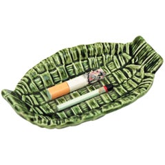 Majolica Trompe L'Oeil Ceramic Cigarette Ashtray Bowl, Portugal