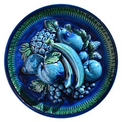 Majolica Trompe L'Oeil Ceramic Fruit Plate in Blue Mood Indigo by Inarco Japan
