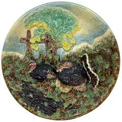 Majolica Trompe l'oeil Plaque with Turkeys, Signed Pinheiro, circa 1890