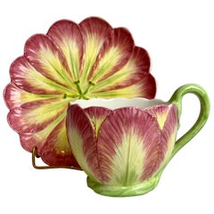Majolica Cup and Saucer with Tulip Motif by Mottahedeh