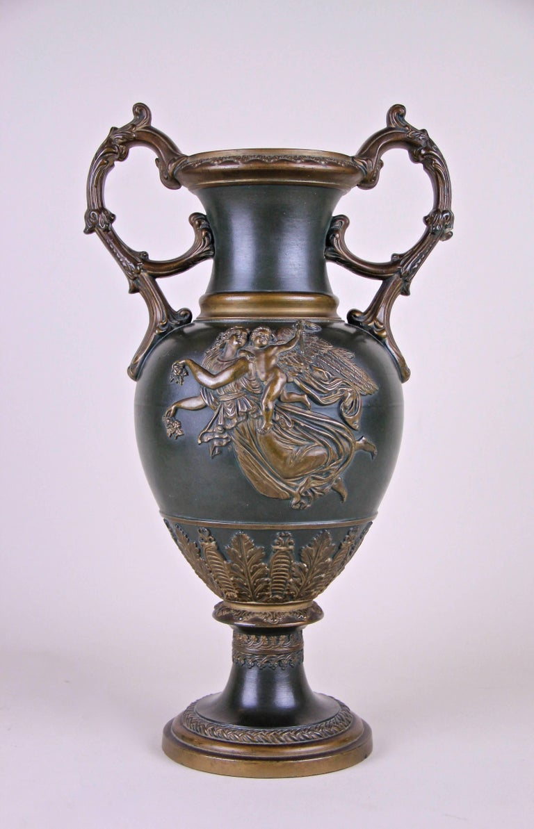 "Unique Majolica vase by the famous Austrian sculptor ""Johann Maresch,"" circa 1880 in Bohemia - at that time Austria.