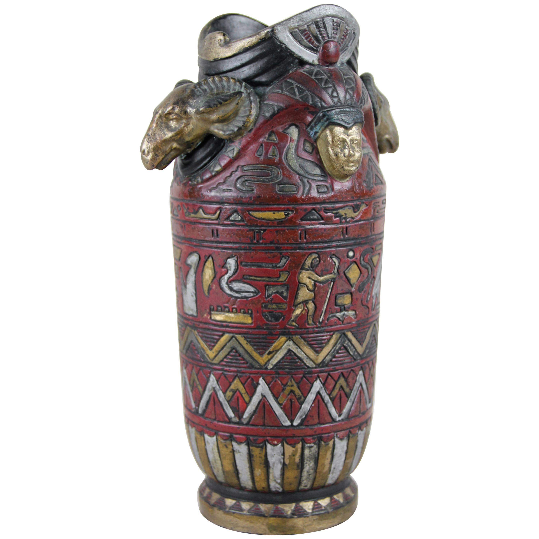 "Majolica Vase ""Egypt"" by Julius Dressler, Bohemia, circa 1895"