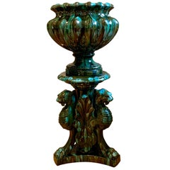 Majolica Vase on Stand