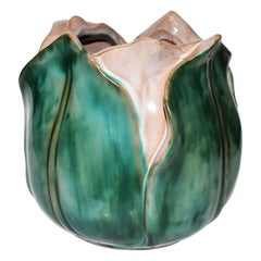 Majolica Vase or Planter in Emerald Green and Pink by Stangl