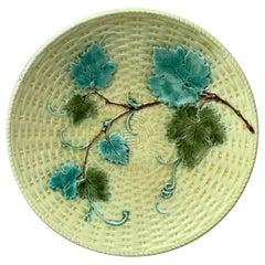 Majolica Vine Leaves Plate Sarreguemines, circa 1880