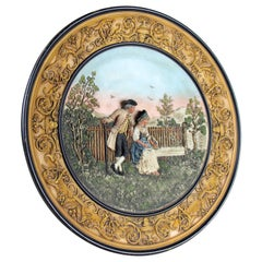 Majolica Wall Plate by Johann Maresch, Austria, circa 1880