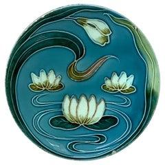 Majolica Water Lily Plate Villeroy & Boch, circa 1900
