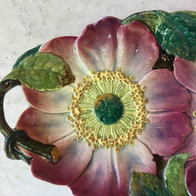 Art Nouveau Majolica Wild Rose Platter Massier Jerome Massier Fils, circa 1900 For Sale