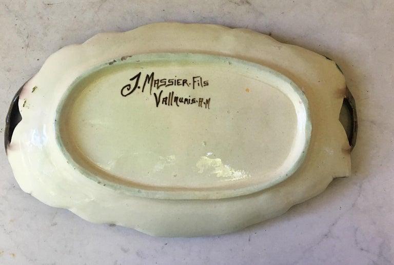 French Majolica Wild Rose Platter Massier Jerome Massier Fils, circa 1900 For Sale