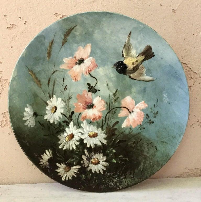 Early 20th Century Majolica Wild Rose Platter Massier Jerome Massier Fils, circa 1900 For Sale