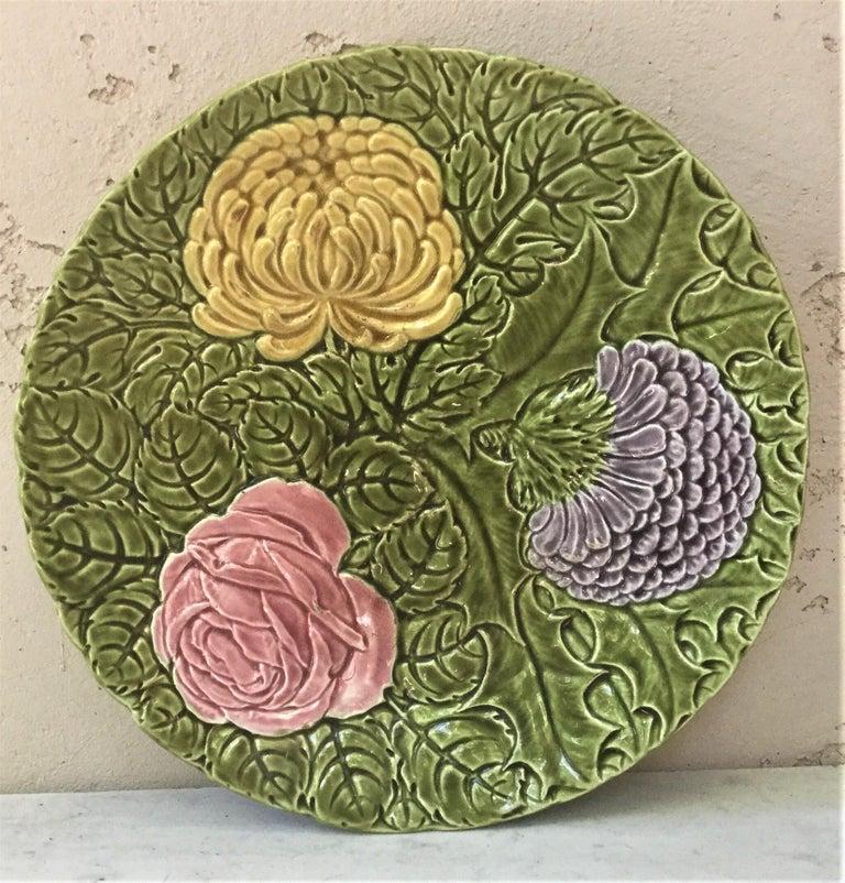 Majolica Wild Rose Platter Massier Jerome Massier Fils, circa 1900 For Sale 1
