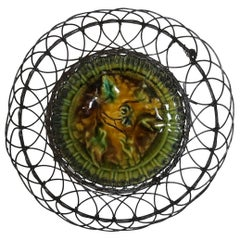 Majolica Wire Basket with Leaves Villeroy & Boch, Circa 1900