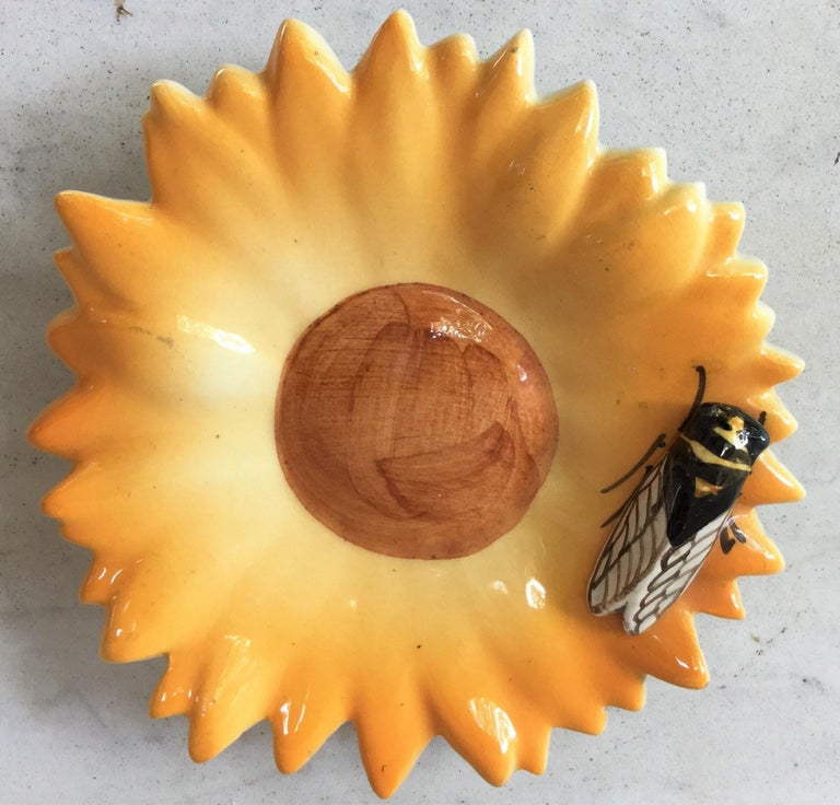 Majolica yellow daisy with cicada Sicard, circa 1950. From South of France.