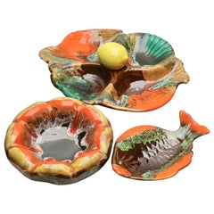 Majolica-style Set of Fish and Oyster Plates, by Vallauris. with Drip Glazes