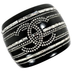 Major Chanel Black Resin Cuff with Rhinestones from the 2009 Cruise Collection