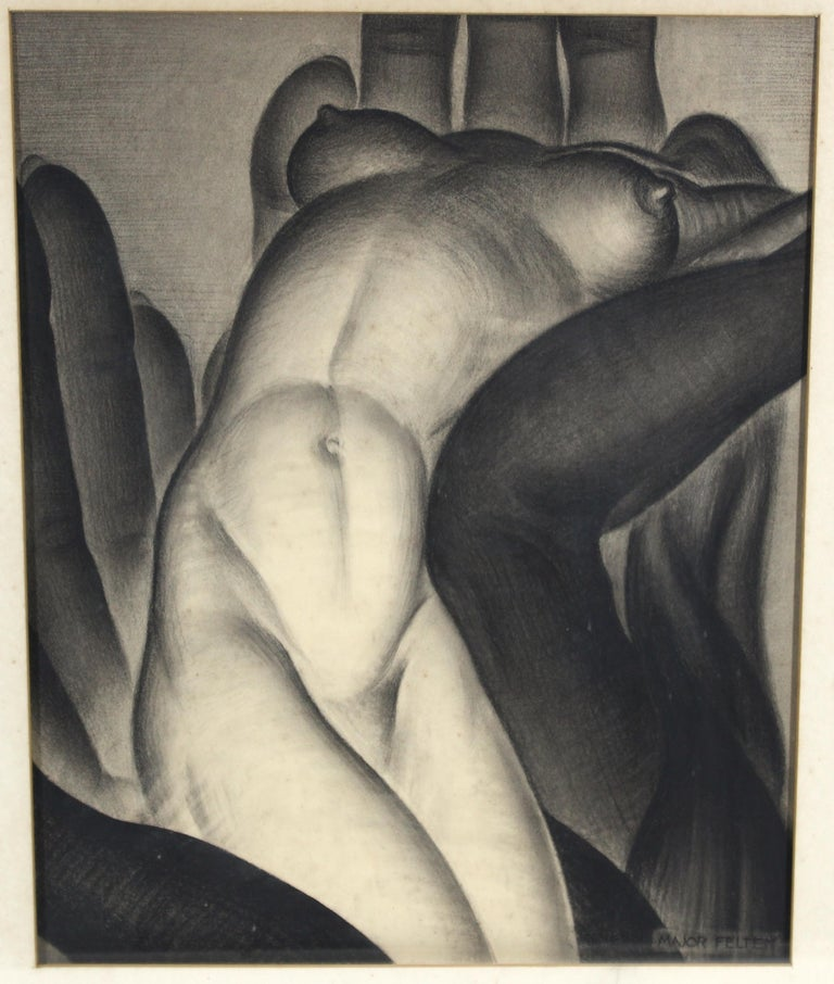 American Art Deco charcoal and black and white chalk drawing of a nude woman, created by Major Felten in the 1930s. The piece depicts a nude woman in a sensuous pose, seated within over-sized hands and is signed by the artist in the lower right