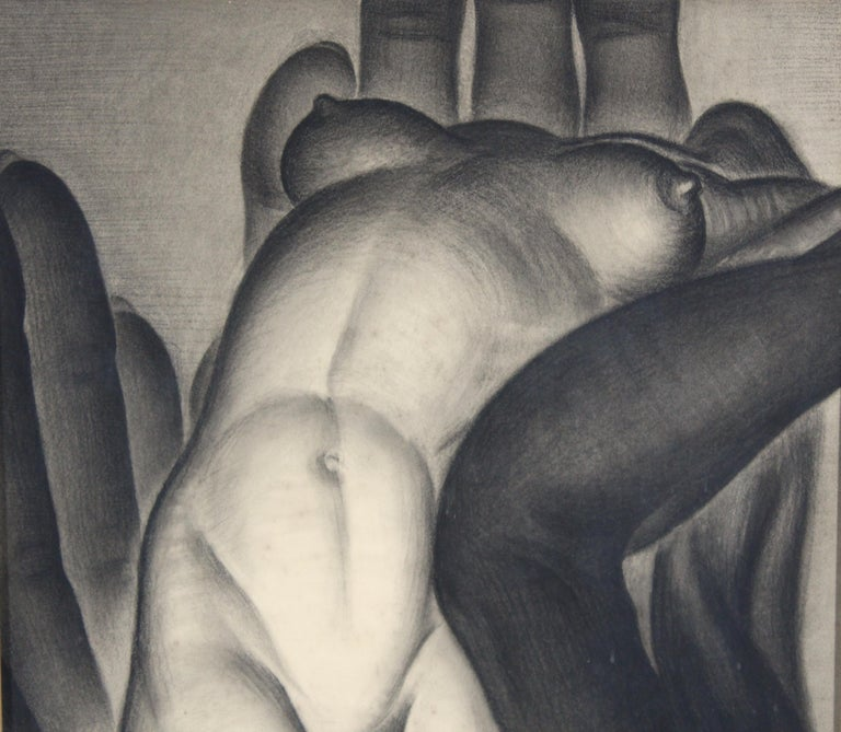 Major Felten 'Bilitis' American Art Deco Female Nude Charcoal Drawing In Good Condition For Sale In New York, NY
