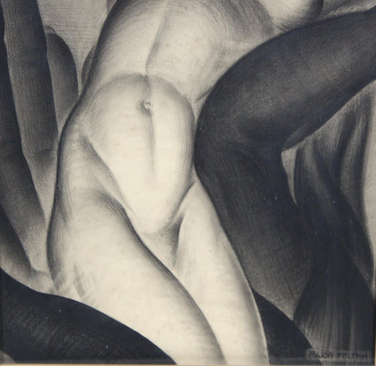 Mid-20th Century Major Felten 'Bilitis' American Art Deco Female Nude Charcoal Drawing For Sale