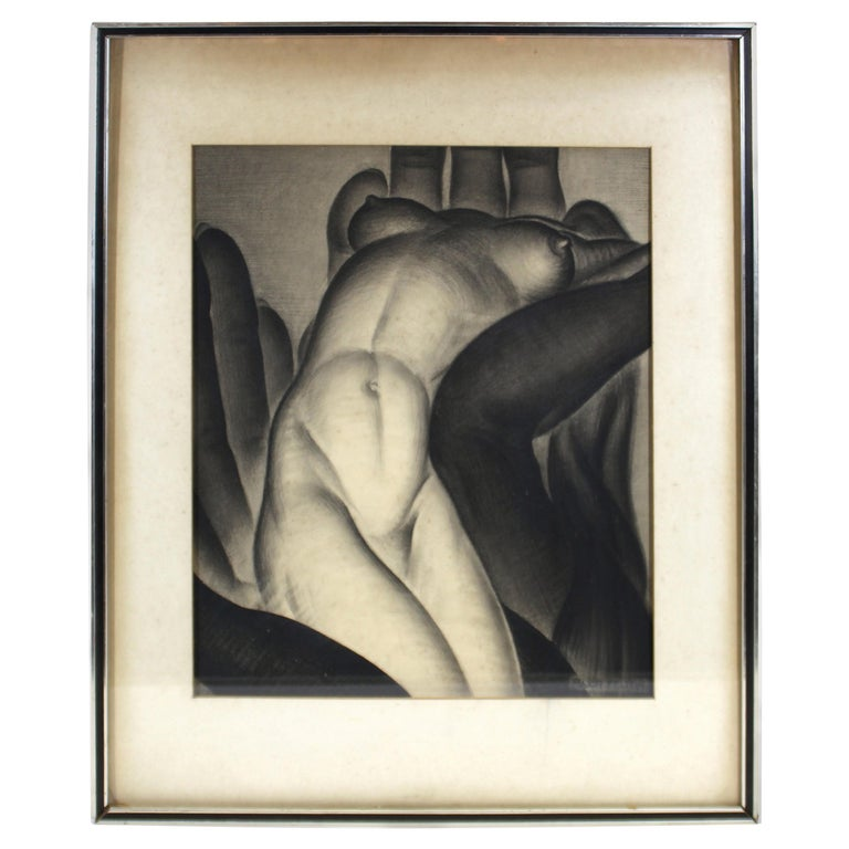 Major Felten 'Bilitis' American Art Deco Female Nude Charcoal Drawing For Sale