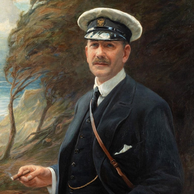 This three-quarter length oil on canvas portrait shows Major Sloane-Stanley in a landscape by the sea. He is smoking a cigar and wearing a Royal Yacht Squadron cap. Signed lower left 'G Hillyard Swinstead 1916' the reverse inscribed in pencil 'Major