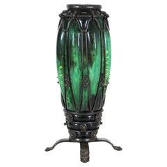 Majorelle & Daum French Art Deco Vase in Glass & Wrought Iron