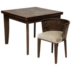 Majorelle Deco Cerused Oak Game Dining Table Mid-Century France, 1930s-1940s