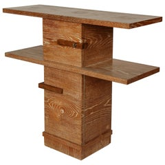 Majorelle Modernist Cerused Deco Oak Console Table, France, 1940s