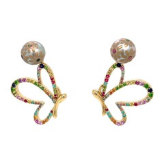 Maki-e Flower Pearl Studs with 18k Yellow Gold Gemstone Butterfly Jackets