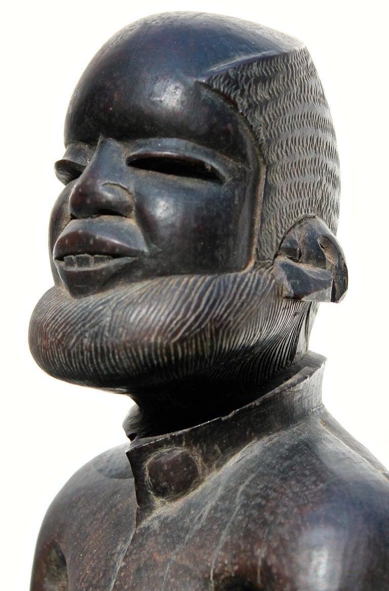 South African Makonde Male Figure in European Dress African Art For Sale