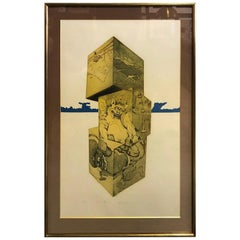Makoto Ouchi Large Limited Edition Signed Japanese Etching Print