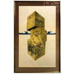 Makoto Ouchi Large Limited Edition Signed Japanese Etching Print