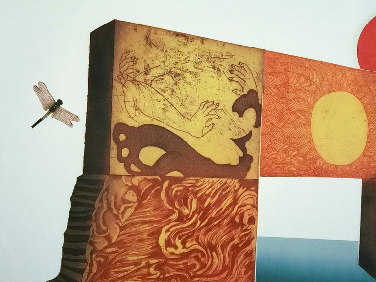Red Sun by Makoto Ouchi, Japanese etching 1/60, red, yellow Kabuki contemporary For Sale 3