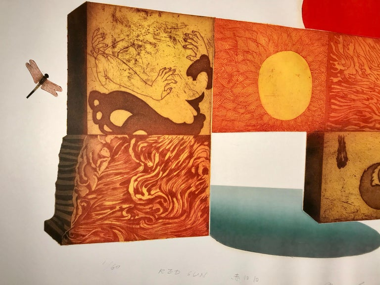Red Sun by Makoto Ouchi, Japanese etching 1/60, red, yellow Kabuki contemporary For Sale 6
